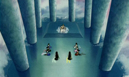 People seated in cloud palace