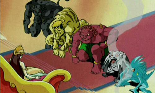 Queen Sari with five monsters