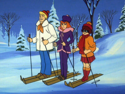 Fred, Daphne, and Velma on skis