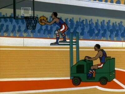 Globetrotters use forklift in game