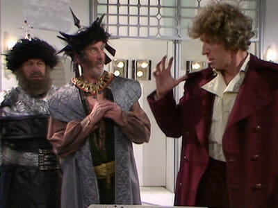 Gaztaks and Tom Baker in control room