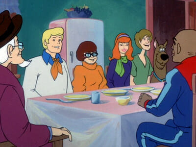 Scooby gang and Globetrotters have breakfast