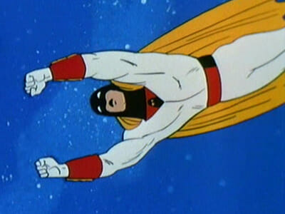 Space Ghost flying in space