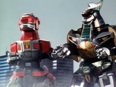 Two zords hold hands