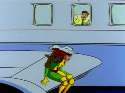Rogue sitting on airplane wing