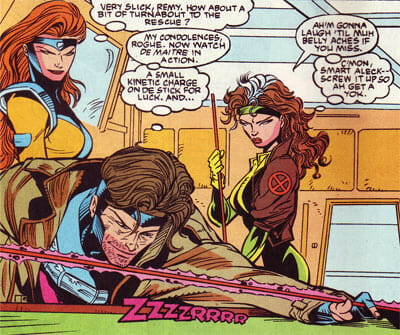 Jean, Gambit, and Rogue play pool