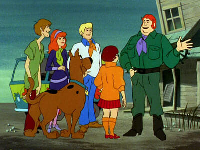 Scooby gang outside with Big Ben