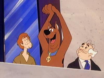 Scooby on balcony cheering