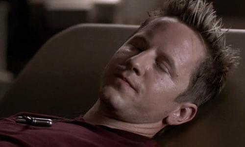 Harper lying in bed