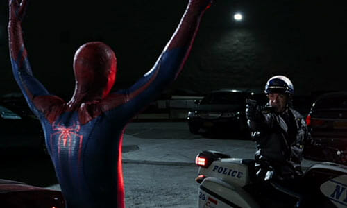 Spider-Man with police officer