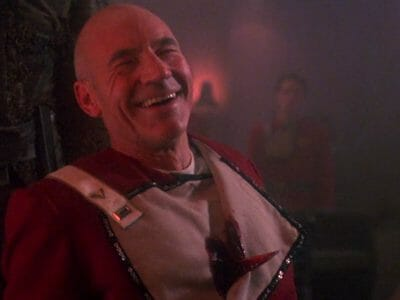 stabbed Picard laughing