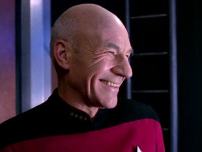 Picard laughing