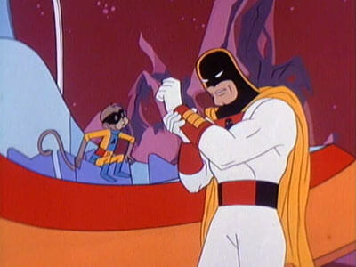 Space Ghost puts on power bands