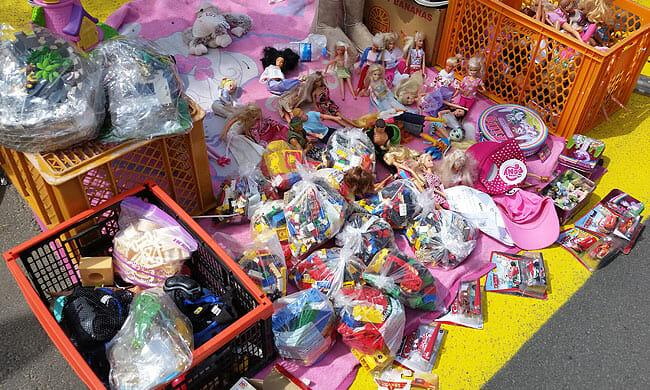 Barbie and Duplo bricks in bags
