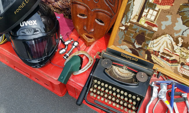 bike helmet, mask, typewriter