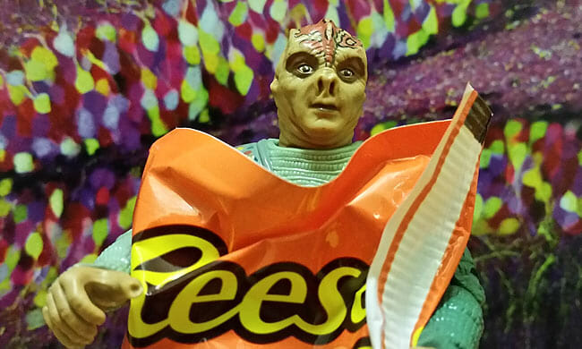 Captain Dathon with Reese's Pieces