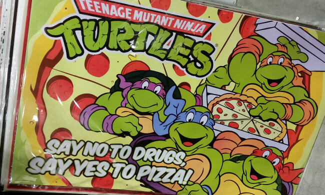 Ninja Turtles poster: Say No to Drugs, Yes to Pizza!