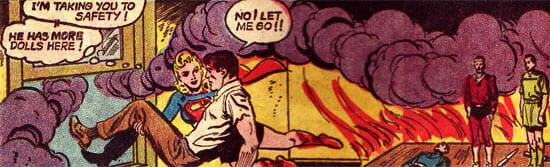 Supergirl carrying Al away from fire