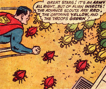 Superman watching insects