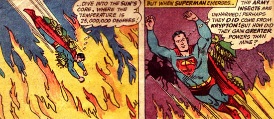 Superman with insects on back in sun