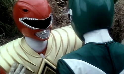 Red Ranger wearing shield