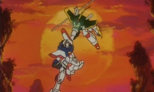 Gundams in midair