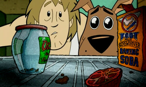 Shaggy and Scooby looking into an empty fridge