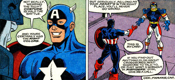 Captain America giving SuperPro his card