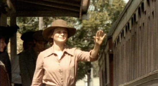 Jessica waving to train