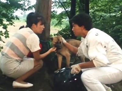 Mai and Hakko with dog