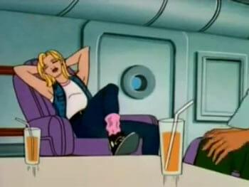 Ali relaxing in plane