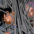 Goku and Trunks in metal rods
