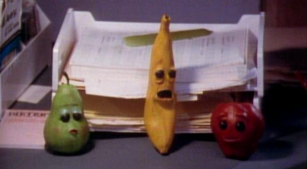 A pear, banana, and apple