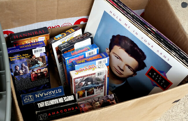 Tapes in box with Rick Astley album