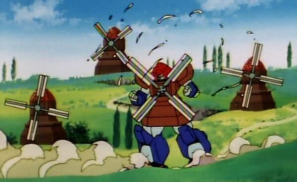 Nether Gundam among windmills