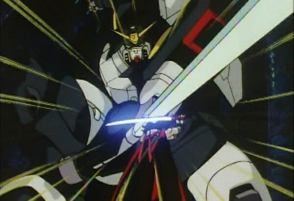 Domon using sword to repel Spiegel Gundam