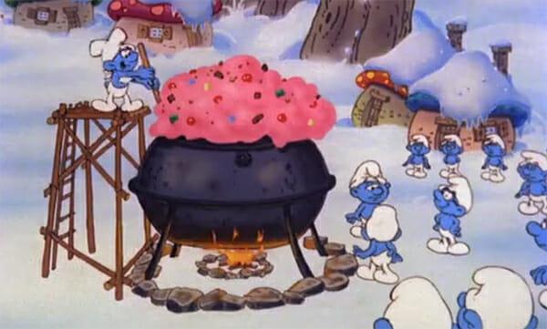 Greedy Smurf making pudding