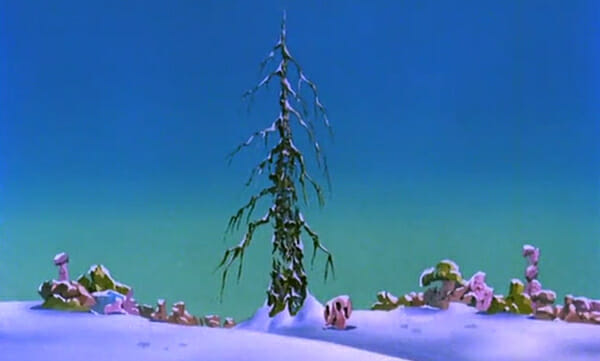 Withered Christmas tree and destroyed Smurf village