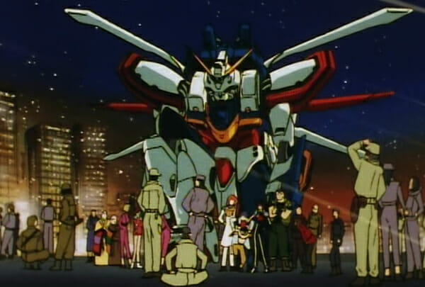 Domon and friends surrounding God Gundam