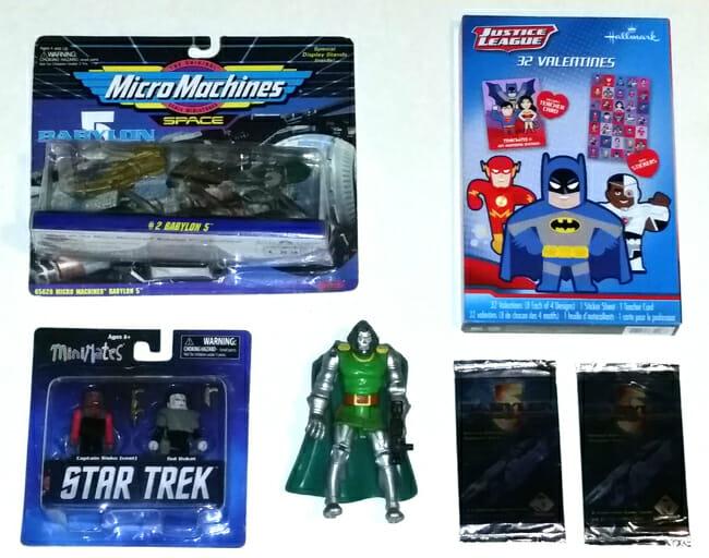 Babylon 5 ships, Star Trek MiniMates, superhero valentines, Dr. Doom, Babylon 5 cards