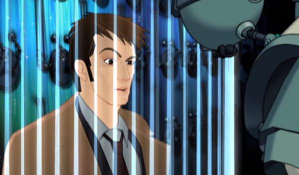 Doctor talking to prison robot