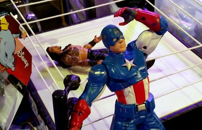 Captain America in front of wrestling ring