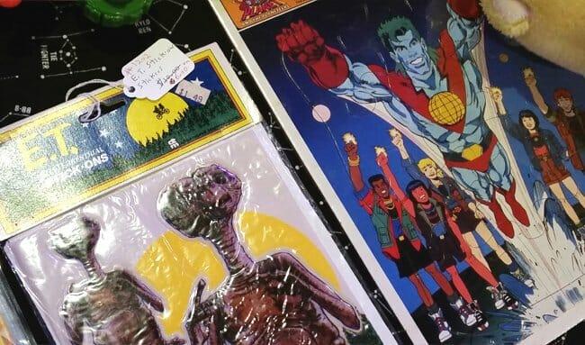 ET sticker and Captain Planet puzzle