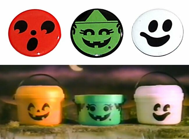 Pinback buttons of Halloween pails