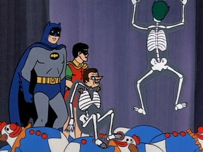 Batman, Robin, Penguin, and Joker in pit